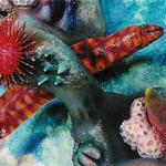 Detail from Aquarium Mural with painted background with an eel,  tube worms and various coral forms all of recycled materials. ©1998 Kristen Muench photo by Debra Whalen