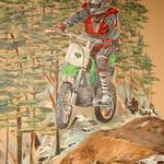 This boy is riding his motorized toys through a forest-themed bedroom. Private home. ©2006 Kristen Muench photo by David A. Harvey