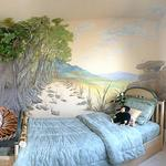 The 3-D papier mâché tree and tree lined pathway mural give ample space for this child to play in his room. Private Home (see 3-D murals) ©2004 Kristen Muench photo by David A. Harvey