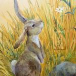 This bunny surveys the scene of the Arbor Mural. Private home. ©2006 Kristen Muench photo by KM