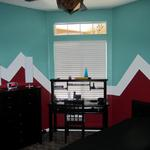 A clean graphic for a boy's room - he chose the colors! Great Look!  November 2013. Parker, CO Photo by KM