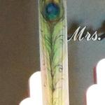 25 ft. tall hand painted peacock feathers on silk hangings for the Mrs. Colorado and Mrs. Ohio Pageants. 4/2012
