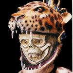 "Aztec Leopard Dancer (#0794) 54.5""h x 29""w x 33""deep Private Collection ©1994 Kristen Muench photo by KM"