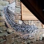 "Manchester Fish Mosaics by Kristen Muench. Private home, Whidbey Island, WA. Each mosaic is approx.  6'long x 30"" h. July 2019. Photo by Kristen Muench."