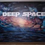 Deep Space Milky Way Galaxy mural by Kristen Muench. Elevator Lobby of Deep Space Event Center, Parker, CO..8'h x 11'w. Aug 2019