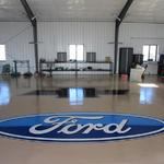 Chevy Logo in epoxy on private garage floor - Private Home murals - November 2013 Photo by KM