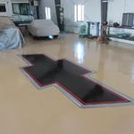 Ford & Chevy Logos in epoxy on private garage floor - Private home murals -  November 2013 Photo by KM