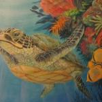Under the Sea with friends by Kristen Muench - Sea Turtle detail. Children's murals. January 2014
