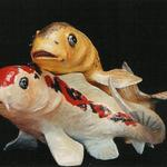 "Koi Swimming (#1194 & #1294) approx 28""h x 30""w x 42""long ©1994 Kristen Muench Photo by KM"