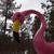 "Giant Pink Flamingo (#5112) face detail 96""tall x 30""h x 13""w x 64""long base plate 31.5""dia Commissioned by Misco Home and Garden, Dunellen, NJ ©2012 Kristen Muench Photo by KM"