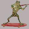 "Frog playing Violin on Skateboard (#2595) 35""h x 45""w x 14:deep ©2001&2005 Kristen Muench Private Owner, Marana, Arizona photo by KM"