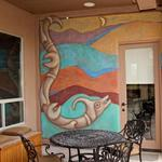 Mimbres style water serpent painted on outdoor patio area. Marana, AZ approx 10 ft h x 7 ft w ©2011 Kristen Muench