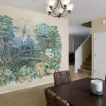 Rainforest scene in muted blues and greens to lend a softness to the dining room. Oro Valley, AZ 9 ft high x 11 ft wide ©2010 Kristen Muench