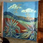Agaves in Stone Mural 10'h x 12'wide Private Home, Oro Valley, AZ ©Kristen Muench photo by David A. Harvey