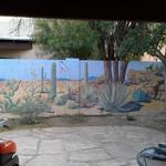 Desert Garden Wall exterior. From block to beautiful, this mural creates an intimate setting in the backyard of a desert home.  January 2014 27'l x 6'h  Tucson, AZ.  Photo by KM.