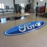 Ford Logo - epoxy paint on Private Garage floor, Elizabeth, CO 12' x 20' section per logo October 2013 Kristen Muench
