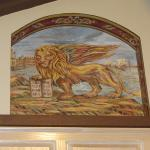 "Venetian Lion Tapestry in Niche Mural. Image taken from 12th c. painting made into a tapestry. Private Home Guglielmi. May 2014. 33""h x 35""w x 6""d. Littleton, CO. Photo by KM"