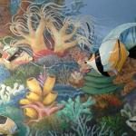 Diving Under the Sea Mural Enhancement of existing mural by unknown artist.  8'h x 20'l Private Home, Tucson, AZ . Photos by KM.