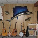 Sailfish in Ocean with Dock Mural (before mural) 8'h x 13'w Private Home, Parker, CO August, 1024 Photo by KM
