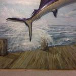 Sailfish in Ocean with Dock Mural (detail of splash) 8'h x 13'w Private Home, Parker, CO August, 1024 Photo by KM